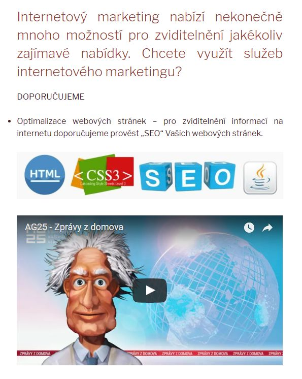 WEB – FOTO – MEDIA – SEO – VIDEO - Internetový marketing Plzeň
