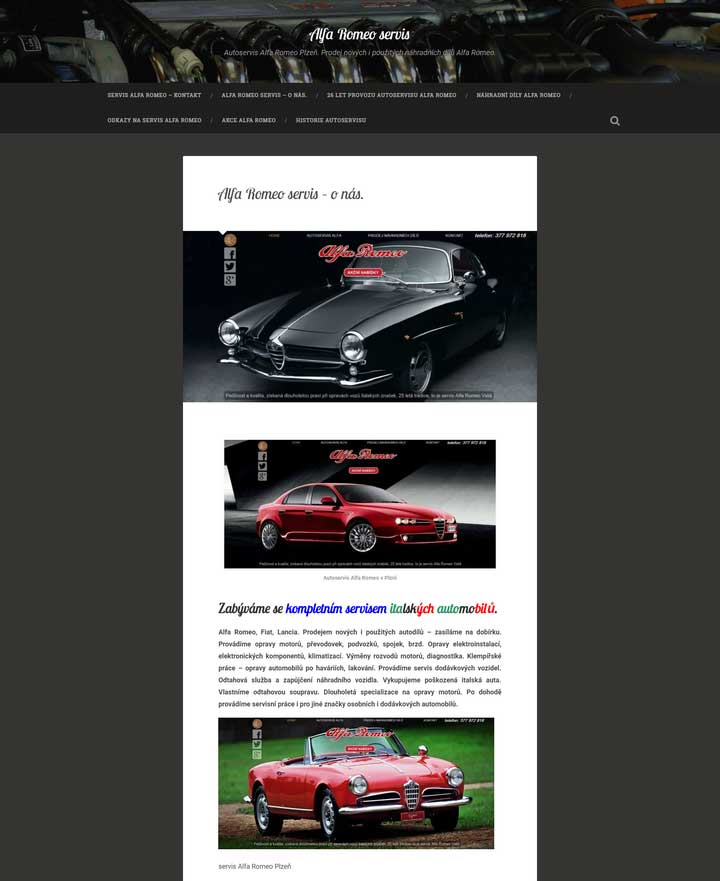 Prodej nových i použitých náhradních dílů Alfa-Romeo Plzeň