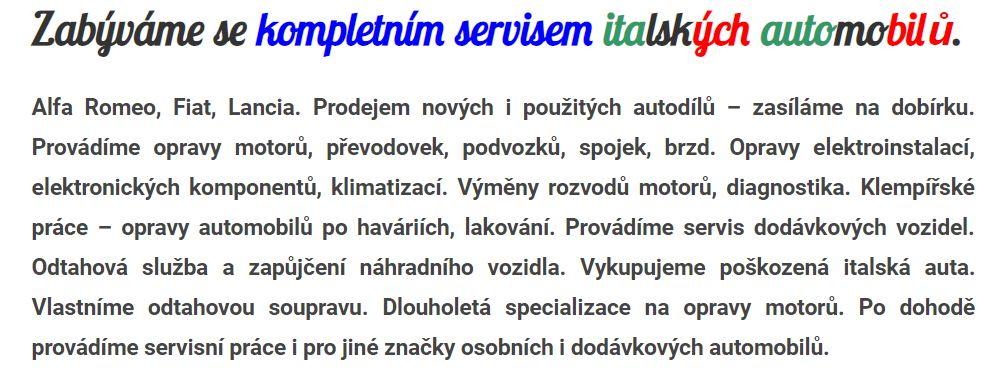 hledám se svým učněm druhého spolupracovníka – automechanika – auto-opraváře do vybaveného servisu Alfa Romeo Fiat Lancia – dílny Průcha