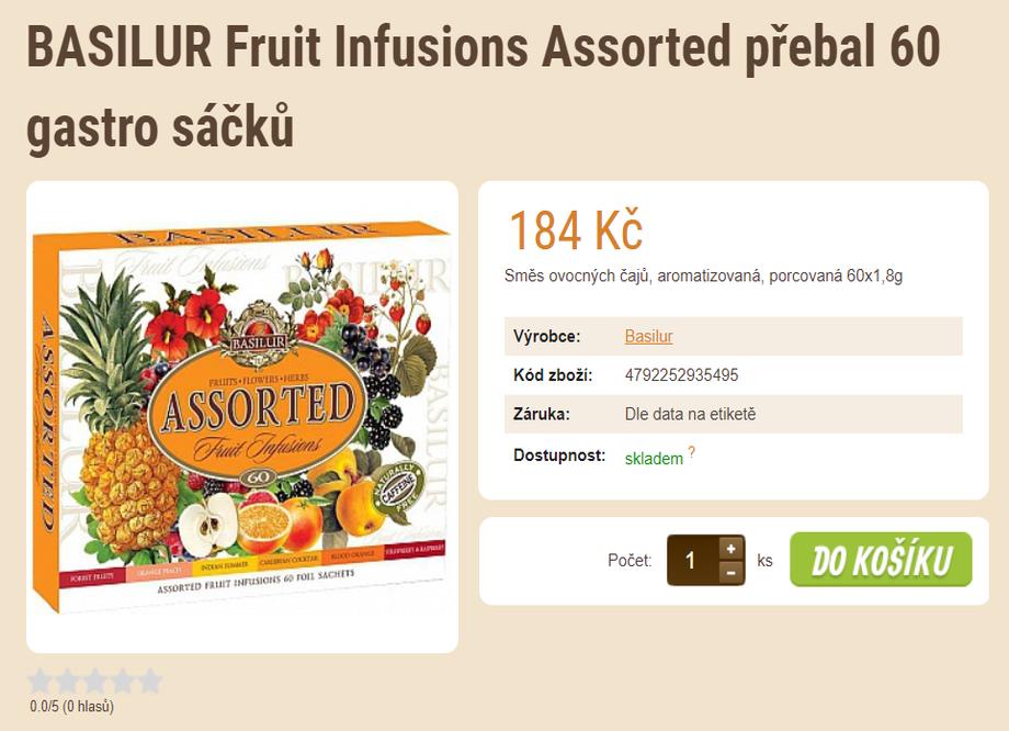 Prodej kávy - tip na vánoční dárek - BASILUR Fruit Infusions Assorted přebal 60 gastro sáčků