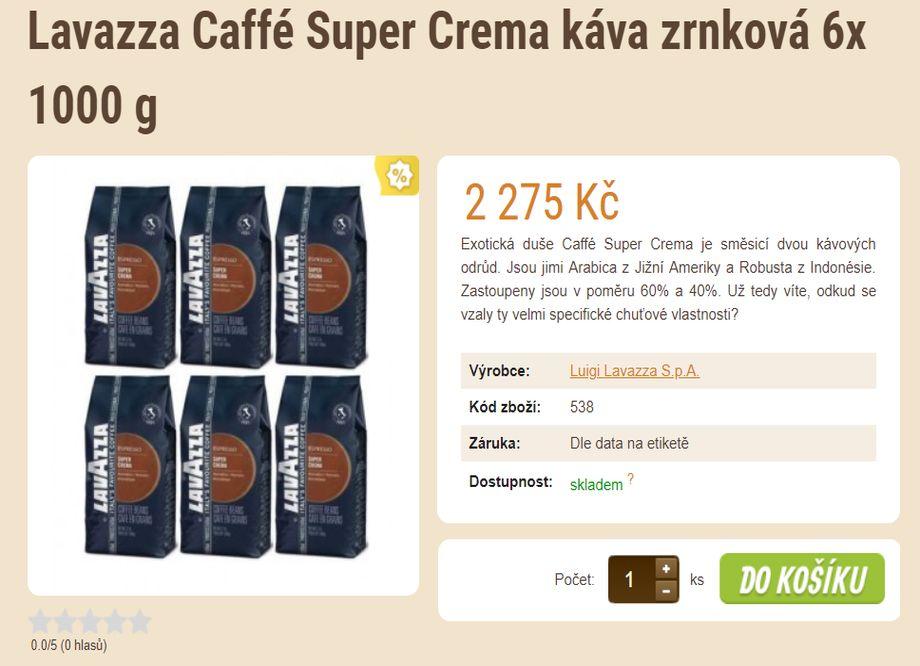 Prodej kávy - tip na vánoční dárek - Lavazza Caffé Super Crema káva zrnková 6x 1000 g
