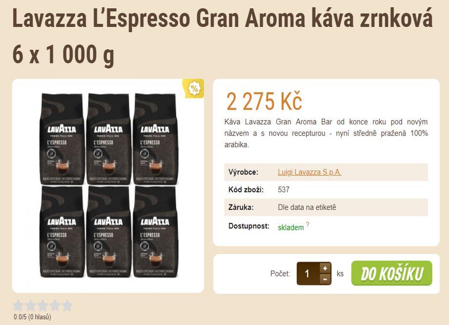 Prodej kávy - tip na vánoční dárek - Lavazza L'Espresso Gran Aroma káva zrnková 6 x 1 000 g