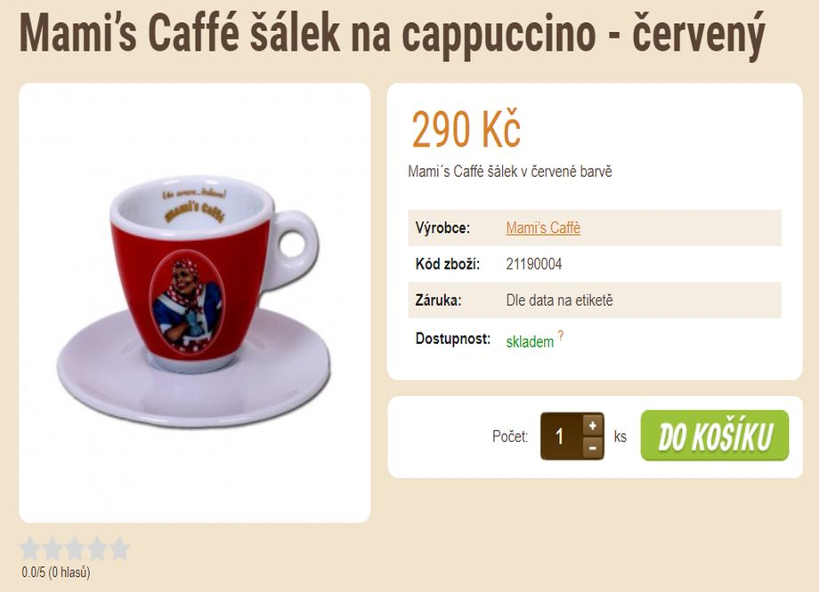 Prodej kávy - tip na vánoční dárek - Mami's Caffé šálek na cappuccino - červený