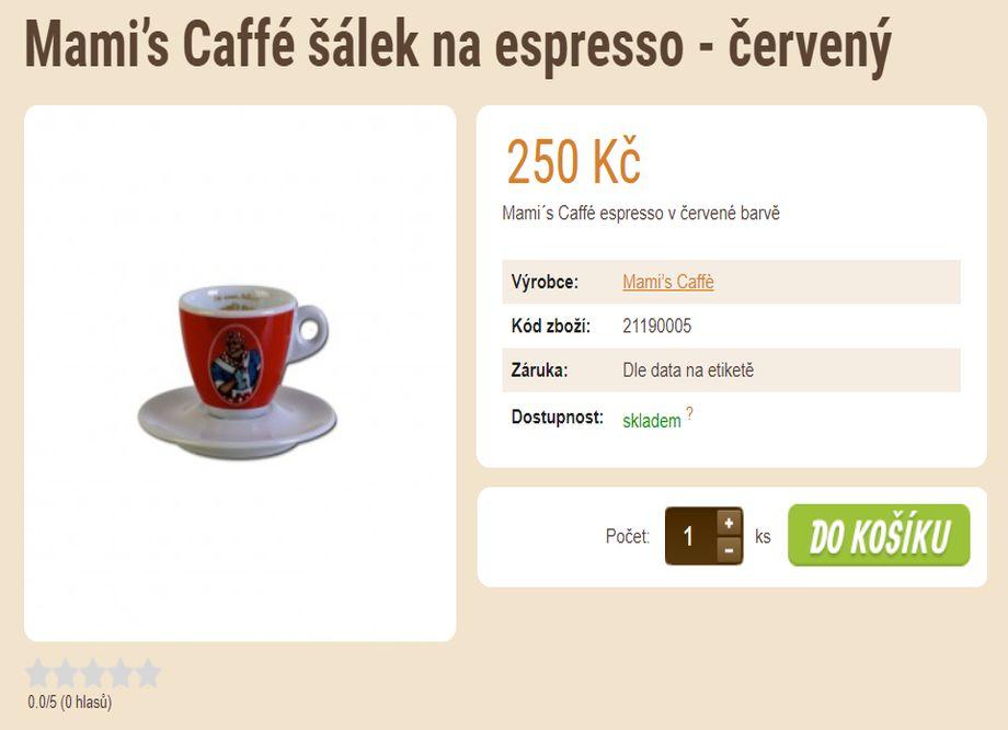 Prodej kávy - tip na vánoční dárek - Mami's Caffé šálek na espresso - červený