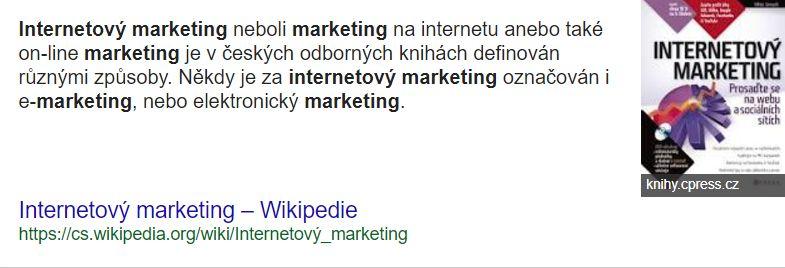 internetový marketing neboli marketing na internetu anebo také on-line marketing je v českých odborných knihách definován různými způsoby. Někdy je za internetový marketing označován i e-marketing, nebo elektronický marketing. Ale toto označení není správné, protože e-marketing zahrnuje veškerý elektronický marketing, tedy včetně internetového marketingu, mobilního marketingu, online televize. Do budoucna to může být i přímá komunikace domácí ledničky s on-line obchodem. Internetový marketing v současné době v elektronickém marketingu zaujímá největší podíl. Další pojem, který je v souvislosti s internetovým marketingem používán, je e-business. E-businessem je nazývána obchodní aktivita, která probíhá prostřednictvím informačních technologií a zahrnuje digitální online komunikaci, online výzkum, ale také online marketing. A posledním důležitým termínem, který není stále přesně používán, je termín online reklama. V užším pojetí jde o stejný termín jako internetová reklama. V širším pojetí zahrnuje veškerou reklamu, která se šíří jakýmikoliv elektronickými kanály (médii), tedy je to i mobilní reklama, reklama vztažená k místu – GPS, internetová reklama.