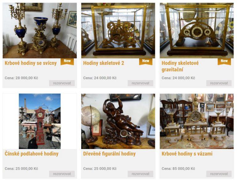 Starožitné hodiny - umělecké hodiny zakoupíte v e-shopu Antik shop Praha