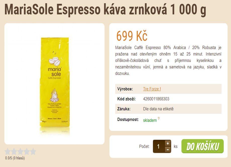 Prodej kávy - tip na vánoční dárek - MariaSole Espresso káva zrnková 1 000 g