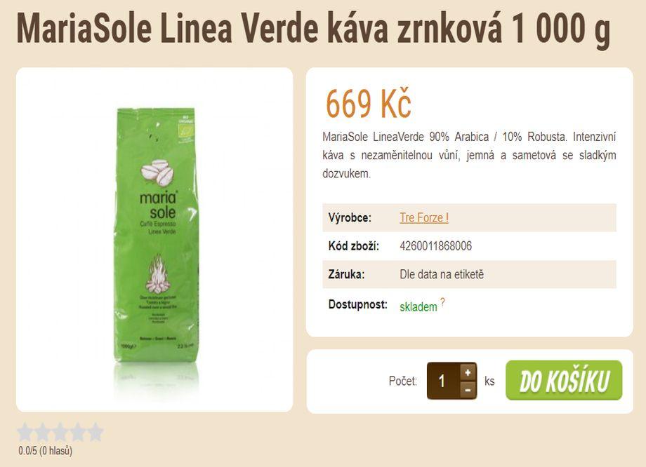 Prodej kávy - tip na vánoční dárek - MariaSole Linea Verde káva zrnková 1 000 g