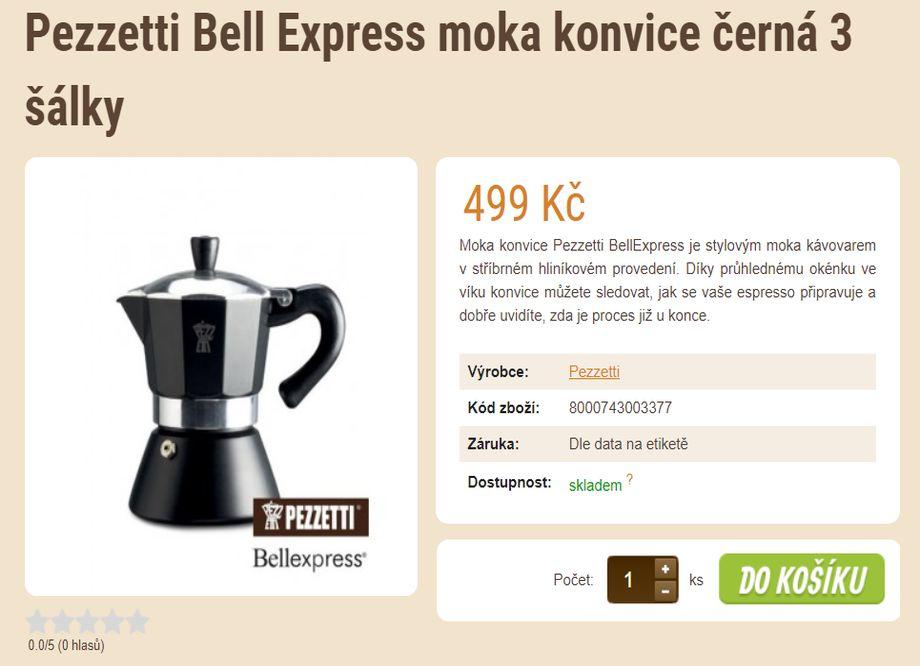 Prodej kávy - tip na vánoční dárek - Pezzetti Bell Express moka konvice černá 3 šálky