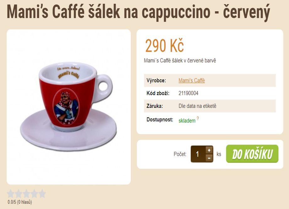 Prodej kávy - E-shop se zrnkovou kávou a čajem - Mami's Caffé šálek na cappuccino - červený