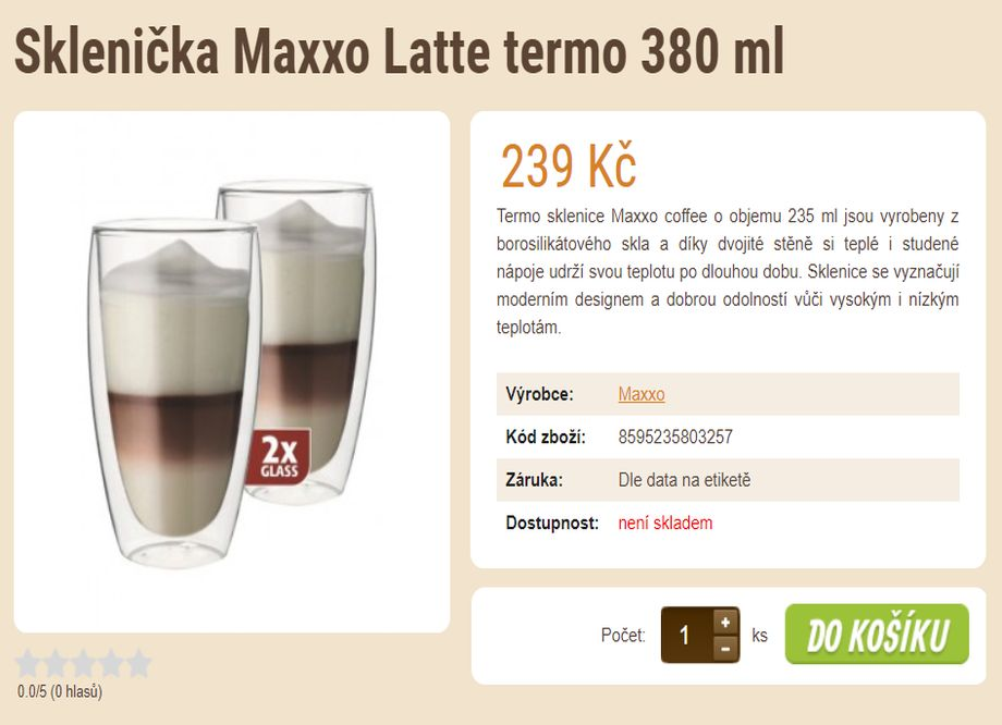Prodej kávy - E-shop se zrnkovou kávou a čajem - Prodej zrnkové kávy - e-shop - Sklenička Maxxo Latte termo 380 ml