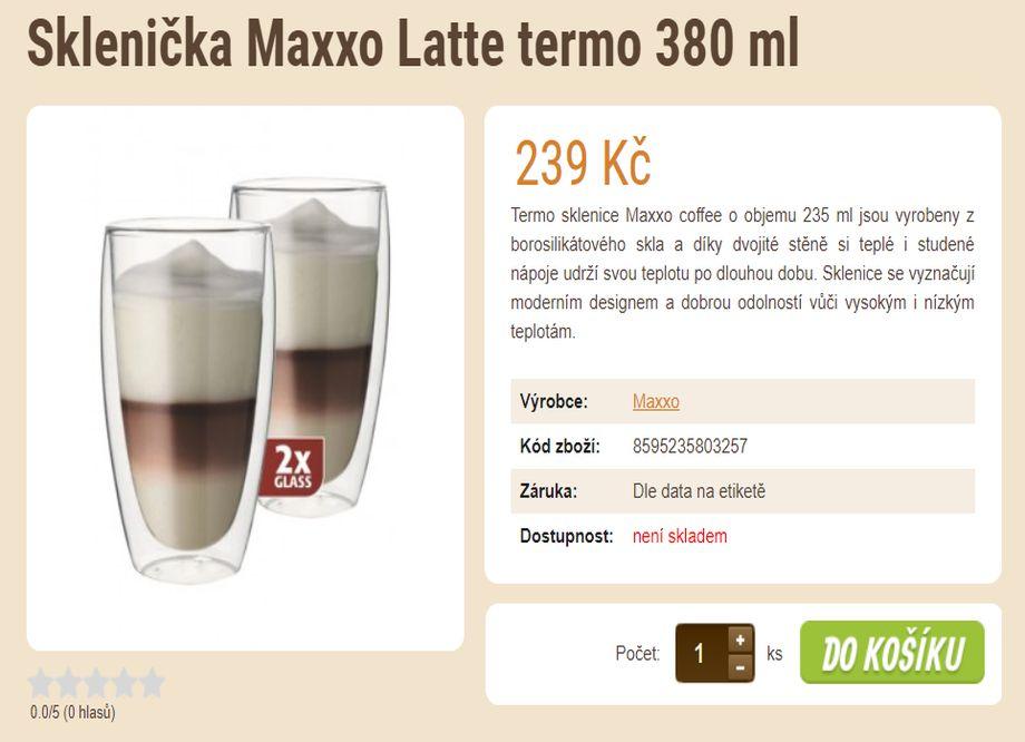 Prodej kávy - E-shop se zrnkovou kávou a čajem - Sklenička Maxxo Latte termo 380 ml