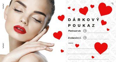 Darujte svým nejbližším valentýnský dárkový poukaz v hodnotě 1350,-Kč, zakup za zvýhodněnou cenu 1000,-Kč, získej 350,-Kč zdarma na služby estetické a kosmetické dermatologie