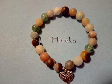 Prodej náramků z minerálních kamenů a polodrahokamů - náramek z minerálů-Jadeit, matný ledový achát, srdce
