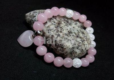 Prodej náramků z minerálních kamenů a polodrahokamů - náramek z minerálů - Růženín, praskaný křišťál