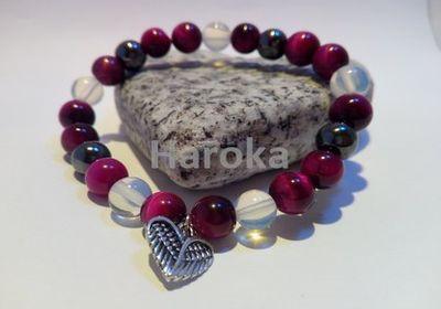 Prodej náramků z minerálních kamenů a polodrahokamů - náramek z minerálů hematit, opál, tygří oko, srdce