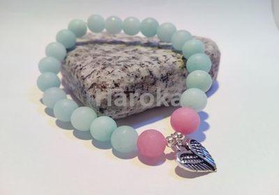 Prodej náramků z minerálních kamenů a polodrahokamů - náramek z minerálů -jadeit matný, srdce
