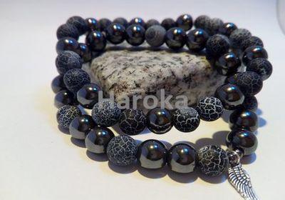 Prodej náramků z minerálních kamenů a polodrahokamů - párové náramky -Ledový matný achát, hematit, křidýlka - vhodný dárek