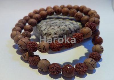 Prodej náramků z minerálních kamenů a polodrahokamů - párové náramky - dřevěný korálek, rudraksha, sluneční kámen