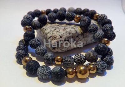 Prodej náramků z minerálních kamenů a polodrahokamů - párové náramky - ledový matný achát, zlatý hematit