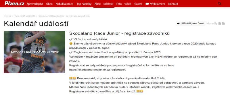 Škodaland Race Junior 2020 - registrace závodníků